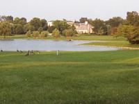 シカゴ郊外のオークブルック市にて。ひろびろと美しい芝生がひろがる郊外の住宅地。人工の湖にかも達が遊んでいる。このような環境設定は多くの人々の夢ではないだろうか?