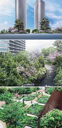 ランドスケープデザインは、オリエンタルランドグループの(株)グリーンアンドアーツが監修。駅前とは思えない植栽に包み込まれる