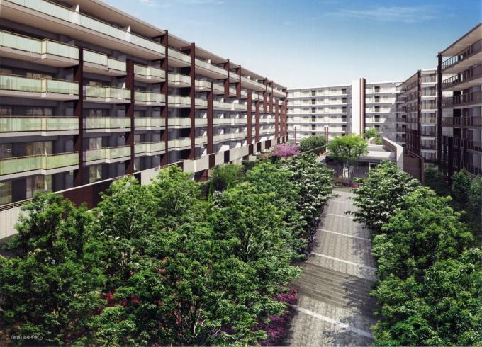 「ザ・ハウス港北綱島」完成予想図。敷地中央のプロムナードを通じて、すべての棟が結ばれており、コミュニティの舞台となる