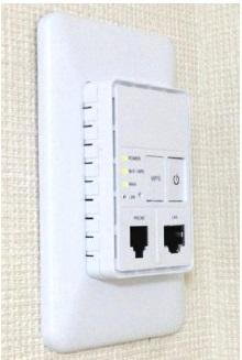 施工事例。設備は、室内壁面埋め込み型無線LAN設備を使用する