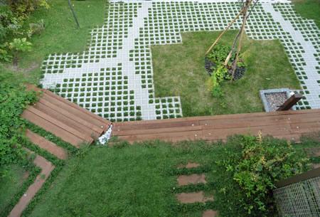 ウッドデッキから眺めた庭