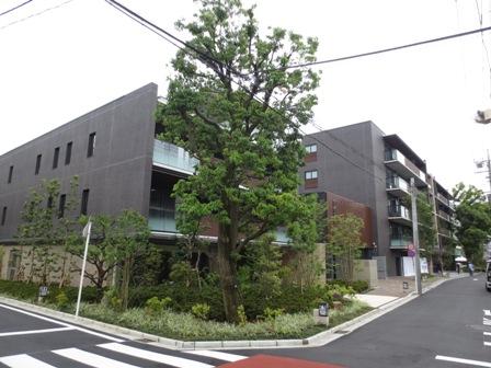 手前が、竣工した分譲住宅「THE RESIDENCE 小杉陣屋町」。「THE KAHALA 小杉陣屋町 PRIVATE RESIDENCES」と意匠を統一している。敷地周囲は、原本家の敷地にあった既存樹を積極的に保存。歩道状空地も整備している