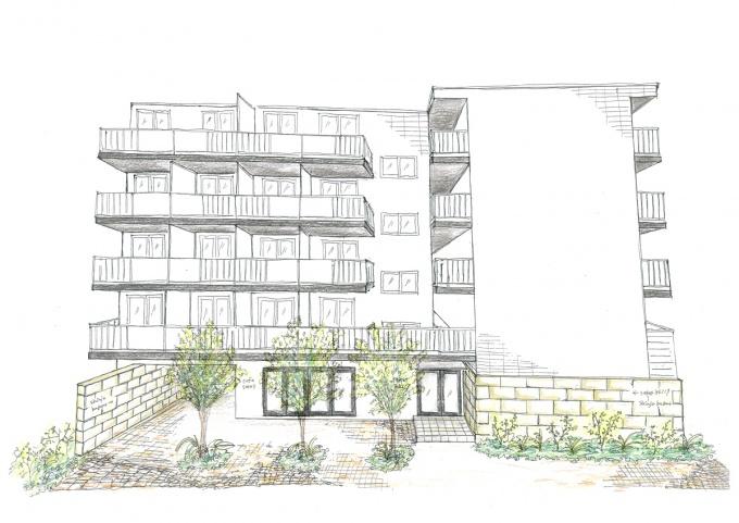 ポケットパークの完成予想イラスト。この庭を囲むようにカフェが配置される。またカフェの向こう側に、パン教室とイベントスペースをオープン予定
