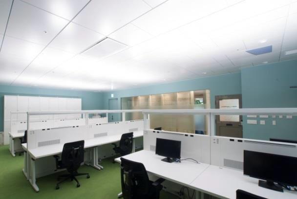 輻射空調やデスクへの個別空調、タスク照明機能などを盛り込んだ次世代オフィススペース