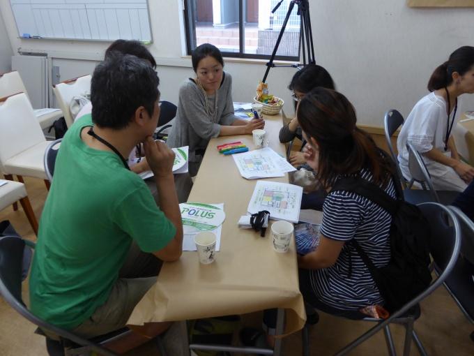 光葉町ミライ会議では、事業者である中央グリーン開発のスタッフと、住民がざっくばらんに意見を出し合う