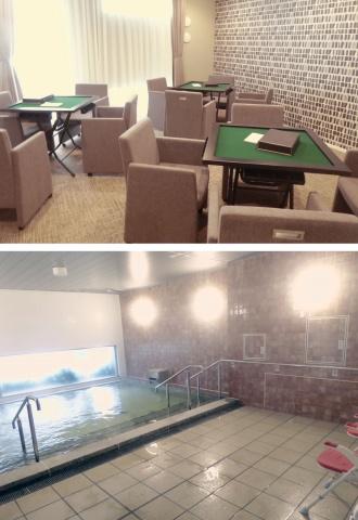 麻雀が楽しめるプレイラウンジ(写真上)や、天然温泉大浴場(下)など、多彩な共用施設を整備。いずれも無料で利用できる