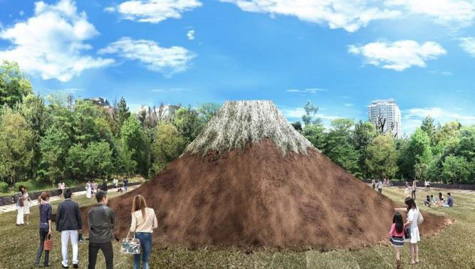 5月28日まで、富士山のモニュメントを芝生広場に設置